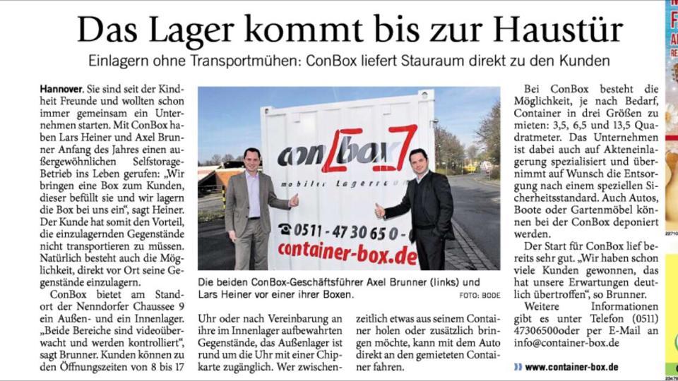 Anzeige Hallo Wochenende Einlagern Lagerraum Hannover Container Möbel einlagern